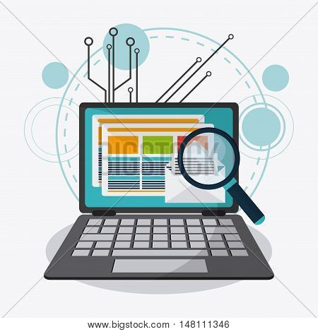 Laptop and lupe icon. Data protection cyber security system and media theme. Colorful design. Vector illustration
