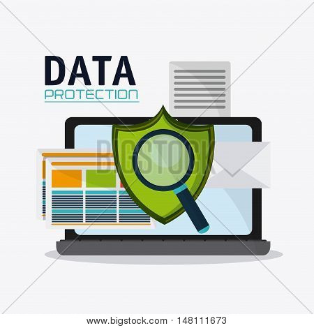 Laptop shield and lupe icon. Data protection cyber security system and media theme. Colorful design. Vector illustration