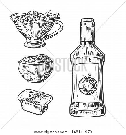 Ketchup bottle tomato sauce in a plate and disposable plastic box. Vector vintage engraved illustration isolated on white background.