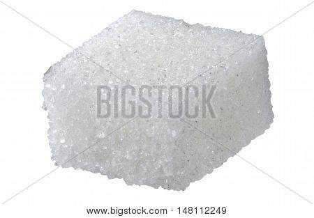 One sugar cube. The image is a cut out isolated on a white background with a clipping path. The image is in full focus front to back.