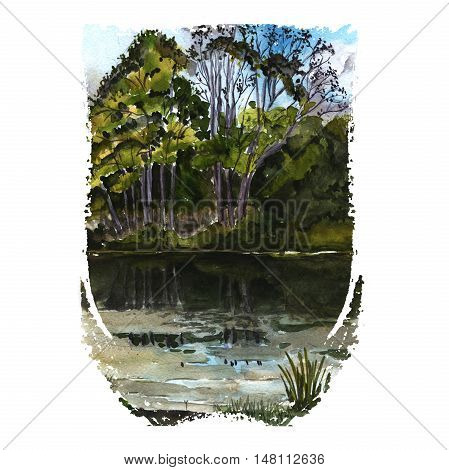 Watercolor illustration of nature - silent lake with trees and bushes on the coast. Hand painting art.