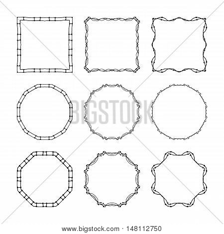 Set Of Hand Drawn, Doodle Decorative Frames And Borders. Mono Line Design Templates, Isolated On Whi