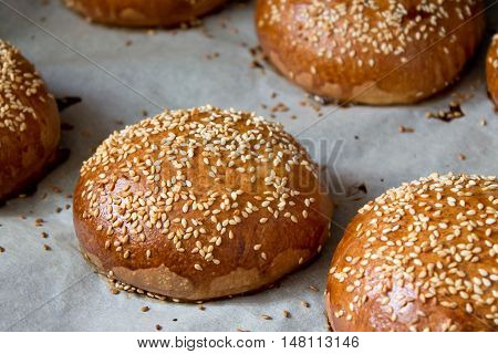 fresh bread with sesame seeds from the oven