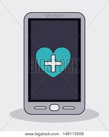 Smartphone heart with cross shape icon. Medical and health care theme. Colorful design. Vector illustration