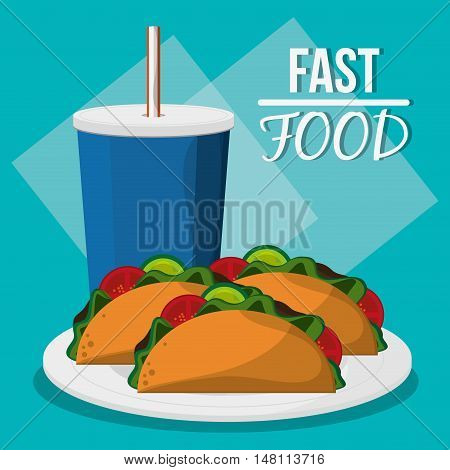 Soda and taco icon. fast food menu american and restaurant theme. Colorful design. Vector illustration