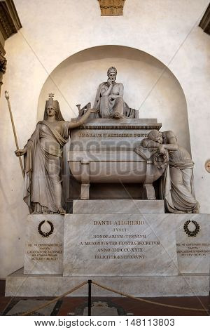 FLORENCE, ITALY - January 19, 2016 : empty tomb of Dante Alighieri in Santa Croce basilica on january 19, 2016, Florence, Italy