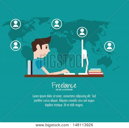 Man with computer icon. Freelance work and technology theme. Colorful design. Vector illustration
