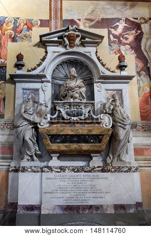 FLORENCE, ITALY: January 19, 2016 : tomb of Galileo Galilei, was an italian astronomer, physicist, engineer, philosopher and mathematician in Santa Croce basilica on january 19, 2016, Florence, Italy