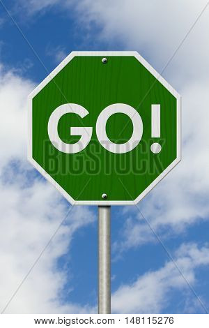 Green Go highway road sign Green stop highway sign with words Go with sky background 3D Illustration