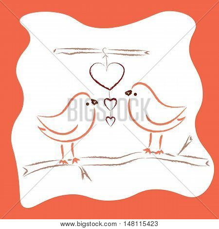 Two cute birds in love greeting card for Valentine day
