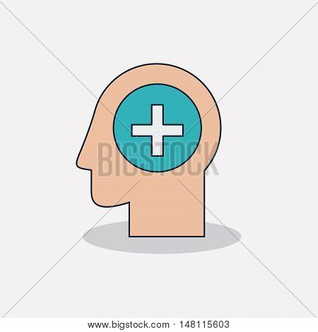 Head with cross shape icon. Medical and health care theme. Colorful design. Vector illustration