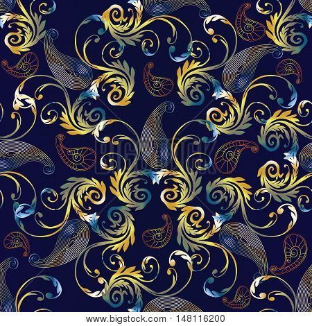 Royal luxury Baroque damask paisley antique vintage floral vector seamless pattern, background illustration with medieval antique colorful shiny 3d baroque vintage Paisley flowers ornaments