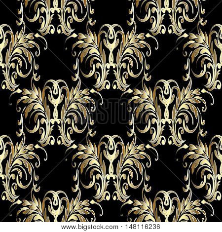 Baroque damask medieval floral vector seamless pattern illustration with vintage antique decorative baroque gold 3d flowers leaves ornaments with shadow,highlight on the black background