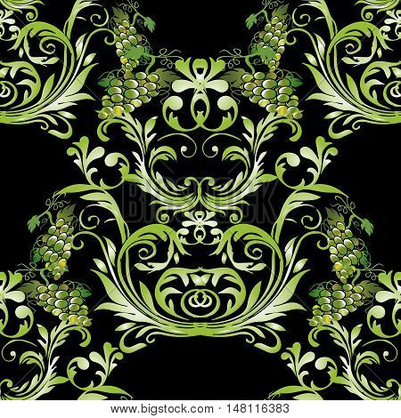 Baroque damask antique black floral vector seamless pattern background  illustration with vintage decorative baroque green medieval 3d grapes leaves ornaments with shadow and highlight