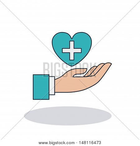Heart with cross shape icon. Medical and health care theme. Colorful design. Vector illustration