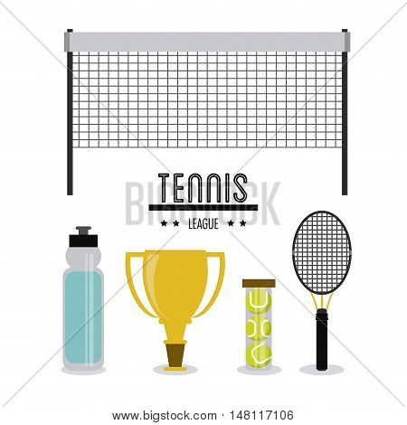 League bottle trophy racket and balls icon. Tennis sport and hobby theme. Colorful design. Vector illustration