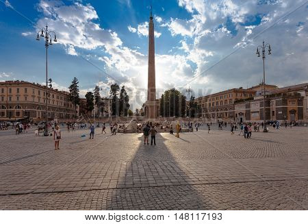 ROME, ITALY - September  13, 2016: View on Piazza del Popolo and an Egyptian obelisk of Sety I (later erected by Rameses II) from Heliopolis stands in the centre of the Piazza.  in Rome, Italy