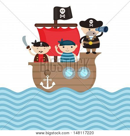 Illustration of pirate ship with cute cartoon pirates.
