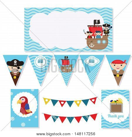 Set of birthday party elements with cute pirate and pirate objects. Birthday party package. Pirate adventure theme.