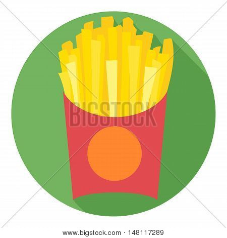 Digital vector potatoe french fries chips red pack in a green circle, flat style.