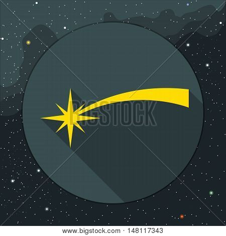 Digital vector yellow comet falling icon, over background with stars, flat style.