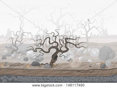 Mysterious forest in fog. Dark spooky halloween landscape scene