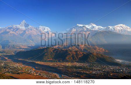 Himalayan Mountain Landscape From Sarangkot Hill, Pokhara, Nepal