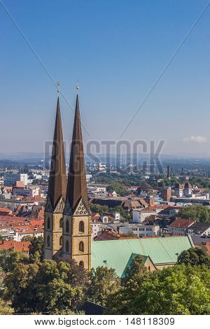 View Over The Marienkirche In The Historical Center Of Bielefeld