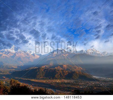 View of the Himalayan mountains from Sarangkot hill Pokhara Nepal