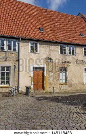 Cobblestoned Street In The Historical Center Of Bielefeld