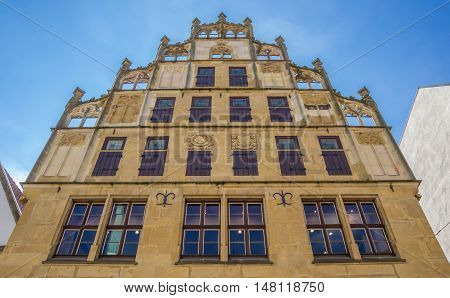 Historical Facade On The Central Market Square Of Bielefeld