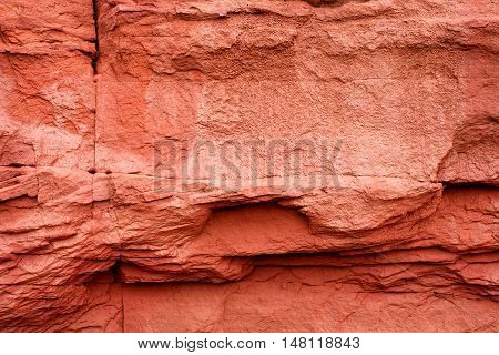 Detail view of a layered sandstone formation.