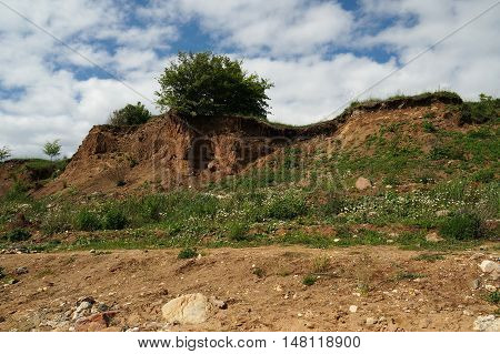 hill, sand, nature, soil, sky, plant, tree, outdoor, mountain, clouds,