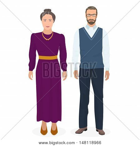 Happy grandfather and grandmother standing together. Good looking adult old man and woman people in family. Vector illustration