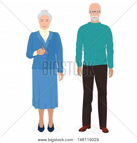 Happy grandfather and grandmother standing together. Old man and woman people in family. Vector illustration