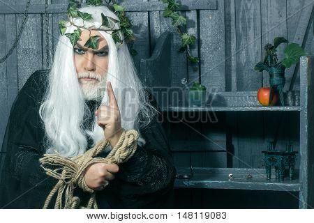 Mythology ancient Greece. Zeus god or jupiter with rope.