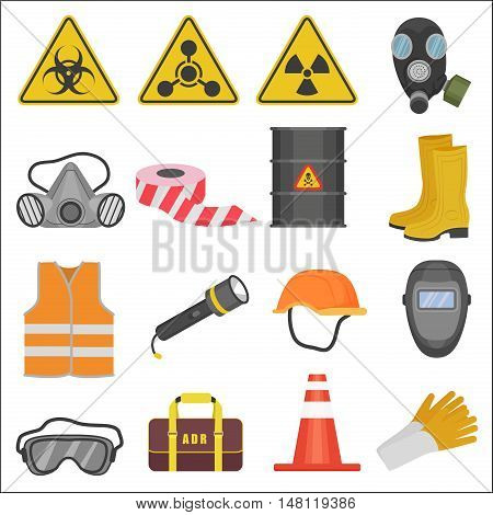 Industrial job work safety equipment flat icons set. Radiation and chemical protection