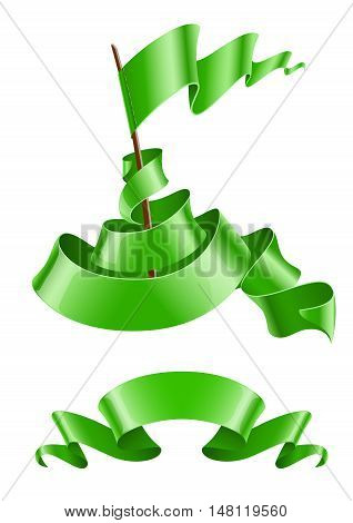 Flapping flag and ribbon green colour. Vector illustration. Isolated on white background