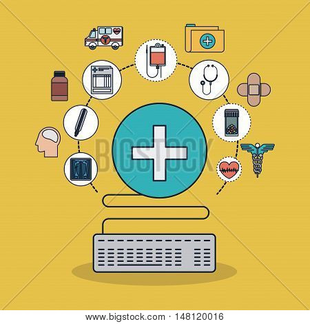 Cross shape and icon set. Medical and health care theme. Colorful design. Vector illustration