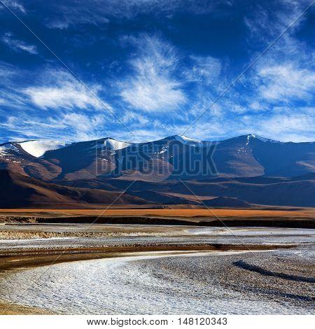 Tso Kar Salt Water Lake In Ladakh, Jammu And Kashmir, North India