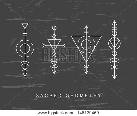 Sacred geometry signs set. Linear Modern Art. Alchemy esoteric hipster symbols