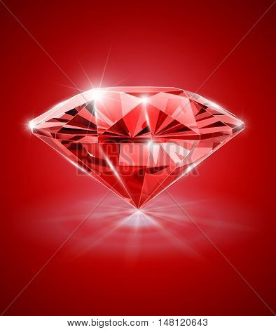 Diamond on red background vector illustration. Transparent objects and opacity masks used for shadows lights drawing