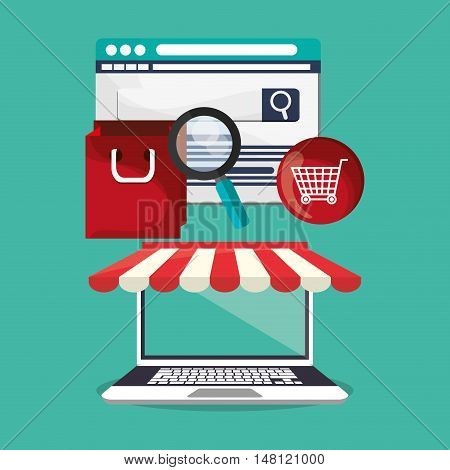 Laptop bag lupe and cart icon. Shopping online ecommerce and media theme. Colorful design. Vector illustration