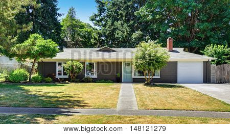 One Level American House Exterior With Garage. Curb Appeal.