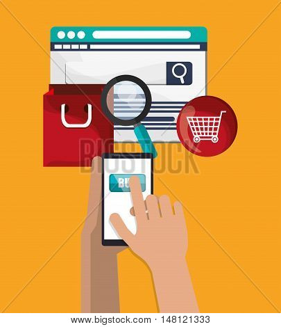 Smartphone lupe bag and cart icon. Shopping online ecommerce and media theme. Colorful design. Vector illustration