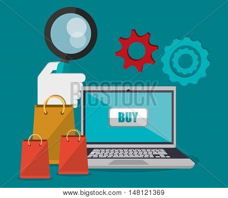Laptop lupe gears and bags icon. Shopping online ecommerce and media theme. Colorful design. Vector illustration