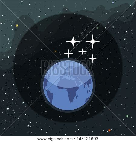 Digital vector planet earth icon with falling stars, over stelar background, flat style.