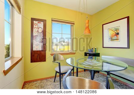 Modern Dining Room Interior With Glass Table.