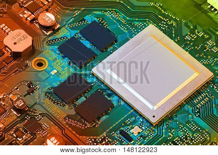 Save Download Preview Electronic circuit board close up. Background can use the Internet, print advertising and design