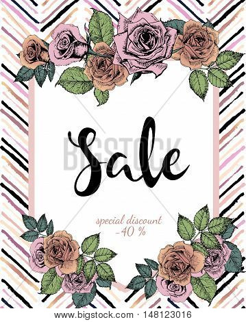 Vector banner for great sale. Chevron text template. Rose gold flowers and chevron modern brush spot in trendy pastel colors. Use for business fashion promotion.